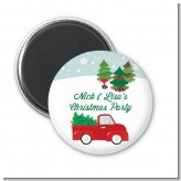 Vintage Red Truck With Tree - Personalized Christmas Magnet Favors