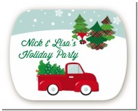 Vintage Red Truck With Tree - Personalized Christmas Rounded Corner Stickers