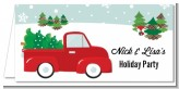 Vintage Red Truck With Tree - Personalized Christmas Place Cards