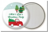 Vintage Red Truck With Tree - Personalized Christmas Pocket Mirror Favors