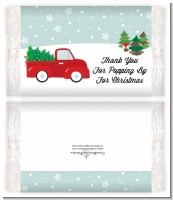 Vintage Red Truck With Tree - Personalized Popcorn Wrapper Christmas Favors