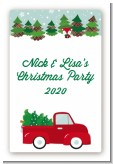 Vintage Red Truck With Tree - Custom Large Rectangle Christmas Sticker/Labels