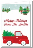 Vintage Red Truck With Tree - Christmas Thank You Cards