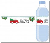 Vintage Red Truck With Tree - Personalized Christmas Water Bottle Labels