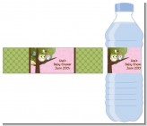 Owl - Look Whooo's Having A Girl - Personalized Baby Shower Water Bottle Labels