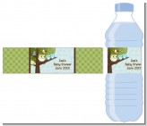 Owl - Look Whooo's Having Twin Boys - Personalized Baby Shower Water Bottle Labels