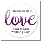 Watercolor LOVE - Round Personalized Bridal Shower Sticker Labels