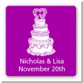 Wedding Cake - Square Personalized Bridal Shower Sticker Labels