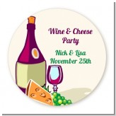Wine & Cheese - Round Personalized Bridal Shower Sticker Labels
