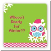 Winter Owl - Square Personalized Christmas Sticker Labels