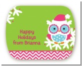 Winter Owl - Personalized Christmas Rounded Corner Stickers