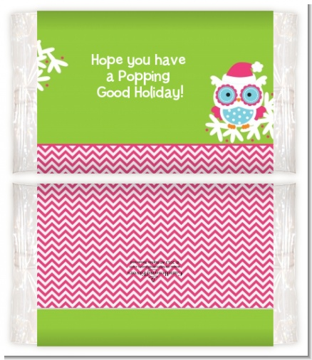 Winter Owl - Personalized Popcorn Wrapper Christmas Favors