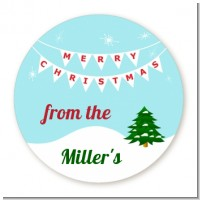 Winter Wonderland - Round Personalized Christmas Sticker Labels