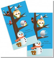 Owl - Winter Theme or Christmas - Baby Shower Scratch Off Game Tickets
