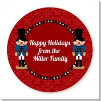 Wooden Soldiers - Round Personalized Christmas Sticker Labels