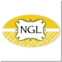 Modern Thatch Yellow - Personalized Everyday Party Oval Sticker/Labels