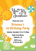 You Are My Sunshine - Birthday Party Invitations