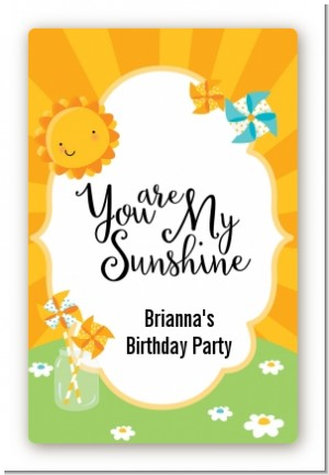 You Are My Sunshine - Custom Large Rectangle Birthday Party Sticker/Labels