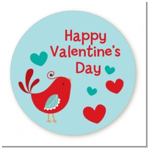 Your The Tweetest Little Birdie - Round Personalized Valentines Day Sticker Labels