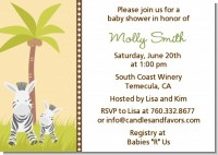 Zebra - Baby Shower Invitations