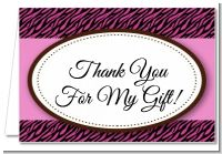 Zebra Print Pink & Black - Birthday Party Thank You Cards