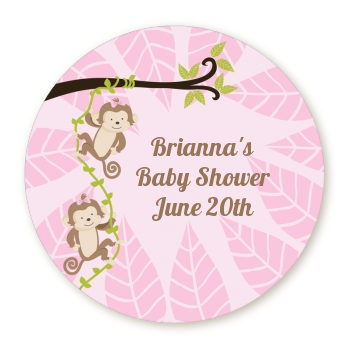 Twin Monkey Girls - Round Personalized Baby Shower Sticker Labels