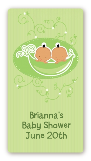 Twins Two Peas in a Pod Hispanic - Custom Rectangle Baby Shower Sticker/Labels 2 Boys