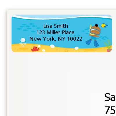 Under the Sea African American Baby Boy Snorkeling - Baby Shower Return Address Labels